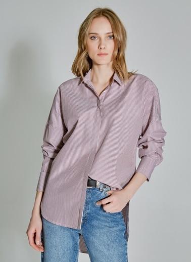 People By Fabrika Düğme Detaylı Oversize Gömlek Bordo